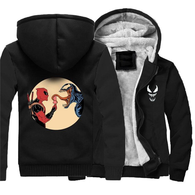 Для мужчин молнии с капюшоном Толстовка Веном зимние теплые Свитшот флисовый утепленный Повседневное чёрное худи пуловер 011 - 5