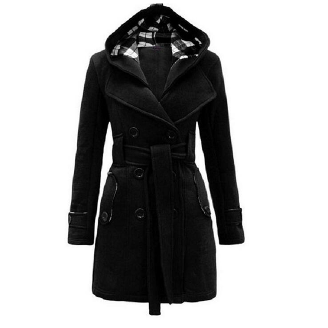 Long Sleeves Solid Women Hot 2016 New long Coat Hoodie Warm Winter Belt Design with a
