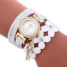 Модные женские туфли браслет Часы куранты Diamond кожаный браслет леди Женщины платье наручные часы Часы Relogio feminino #2