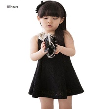 цена на Gold Sequins Peter Pan Collar Girls Dress Lace Sleeveless White/ Black Dresses Kids For 2 3 4 5 6 7 8 9 Years Girls Prom Summer
