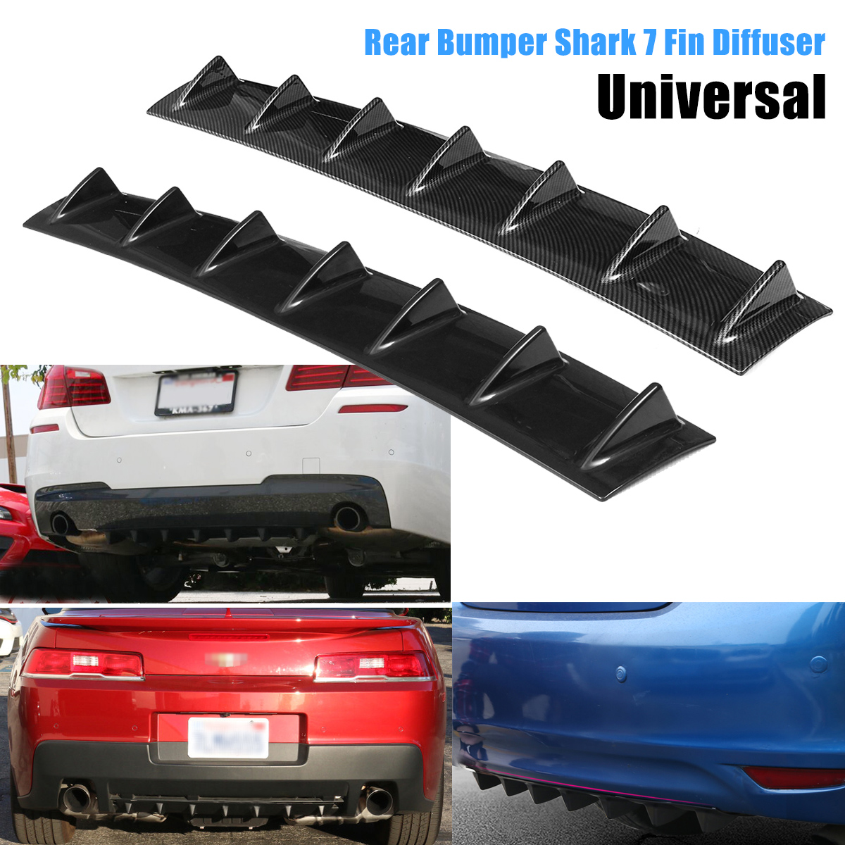 Universal 33 X 5 ABS Car Rear Bumper Shark Fin 7 Wings Lip Diffuser Spoiler Kit