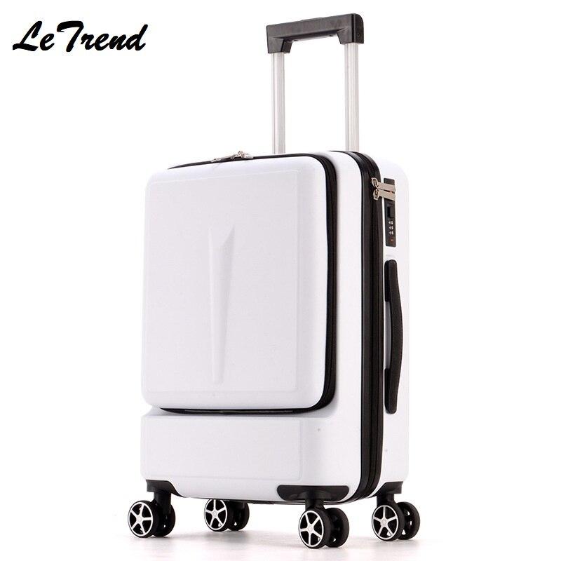 Letrend חדש אופנה 24 אינץ קדמי כיס מתגלגל מזוודות עגלת תיבת סיסמא 'העלאה מזוודת נשים נסיעות תיק תא מטען