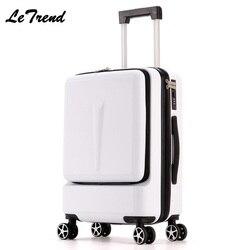 Letrend Neue Mode 24 Zoll Vorne Tasche Roll Gepäck Trolley Passwort Box 20' Internat Koffer Frauen Reisetasche Stamm