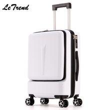 Letrend nova moda 24 Polegada frente bolso rolando bagagem trole caixa de senha 20box boarding mala de viagem feminina mala tronco
