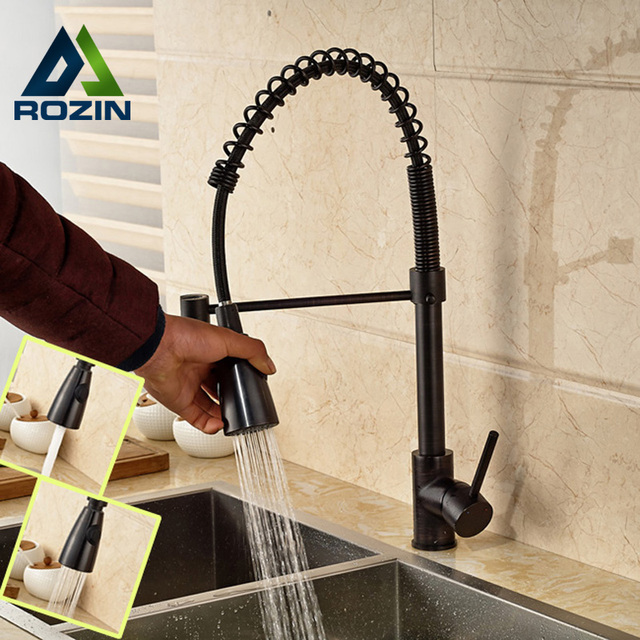 Oil Rubbed Bronze Kitchen Sink Faucet Spring Pull Down Mixer Taps ...