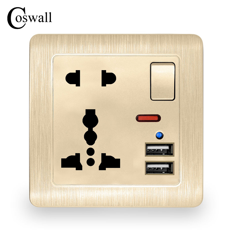 Coswall Wall Power Socket 13A Universal 5 Hole Switched Outlet 2.1A Dual USB Charger Port LED indicator Gold Color Brushed Panel