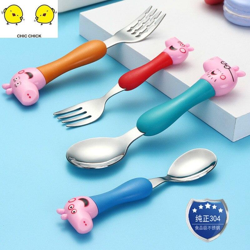 304 Stainless Steel  Family Set Cartoon Childrens Tableware 4PCS Children Fork Spoon