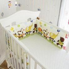 Collapsible 180*28cm Baby Crib Bumper In the Crib, Newborn Cotton Linen Cot Bed Protector, Kids Bedding