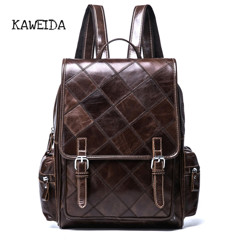 все цены на Women backpack Vintage Genuine Leather small Mini School Bagpack Famous Brand Retro Girls Plaid Travel Lunxury Book Bags Coffee