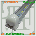 Free shipping T8 V shaped Integrated Tube bulb lights 36W 6FT 1800mm 85-277v Double line SMD2835 with accessory 270 angle lamp