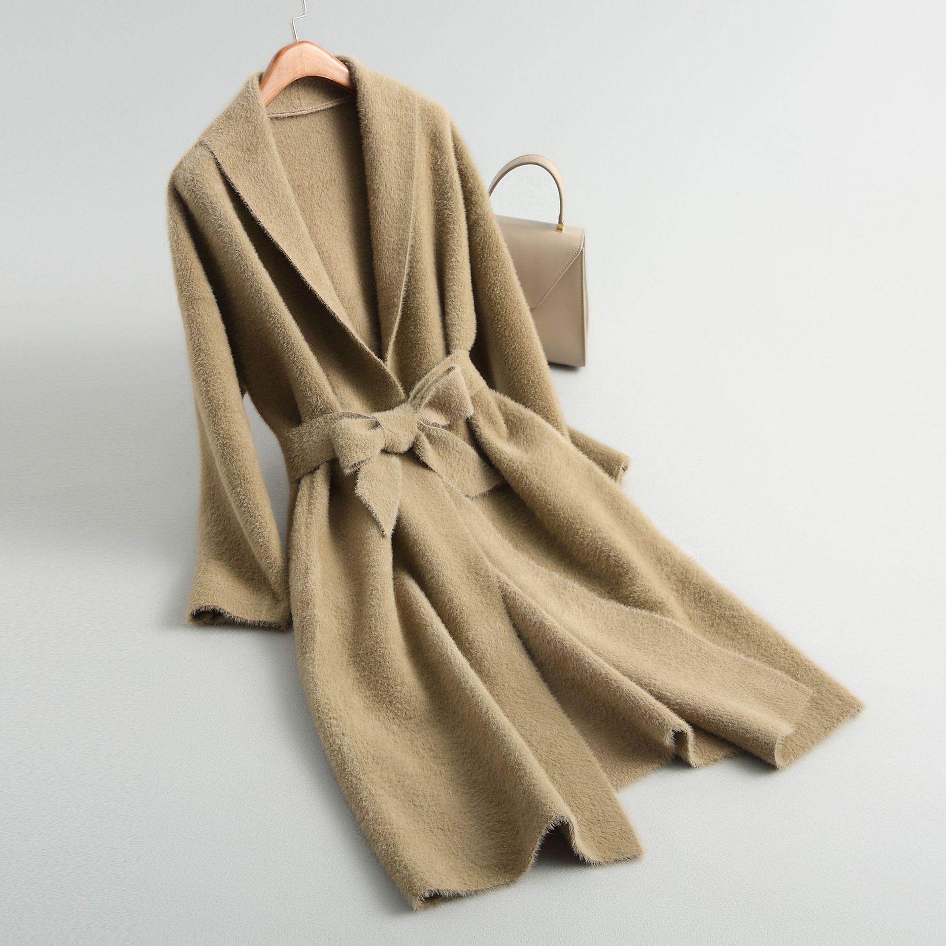 Velours Innasofan Camel Ceinture Rabattu Hiver Manteau Col Femelle n1HYqw0v