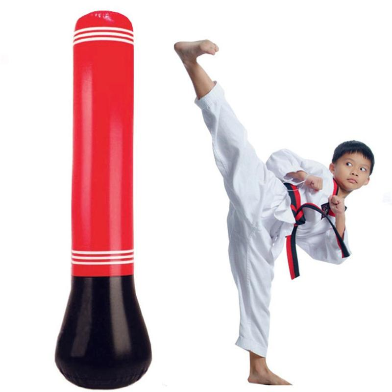 Us 3 23 17 Off Inflatable Punching Bag Tumbler Training Fitness For Children Kids Kick Fight Free Stand Boxing In Toy