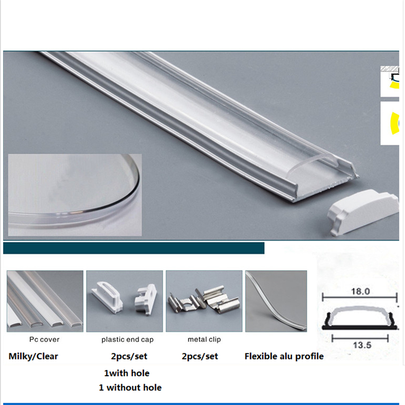 Image 2 - 10 30pcs/lot 1m/pc 40inch flexible led channel ,free bent aluminum profile for 5050,5630 led strip,milky/clear cover for 12mmpcb-in LED Bar Lights from Lights & Lighting