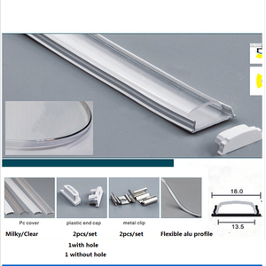 Image 2 - 10 30pcs/lot 1m/pc 40inch flexible led channel ,free bent aluminum profile for 5050,5630 led strip,milky/clear cover for 12mmpcb