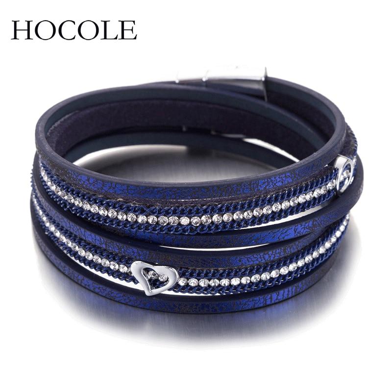 2018 New   Leather   Bracelets For Women Men Double Layer Rhinestone Heart Charm   Suede     Leather   Bracelets&Bangles Pulseiras Femininas