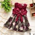 New girls winter cloth dress 0-1-2-3-4 years old female baby princess big bowknot dress