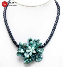 Женское Ожерелье с кулоном в виде цветка qingmos Трендовое жемчужное