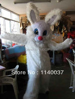 mascot Long Hair Rabbit Easter Bunny Mascot Costume Easter Holiday Adult Fancy Dress Outfit Suit FREESHIPPING