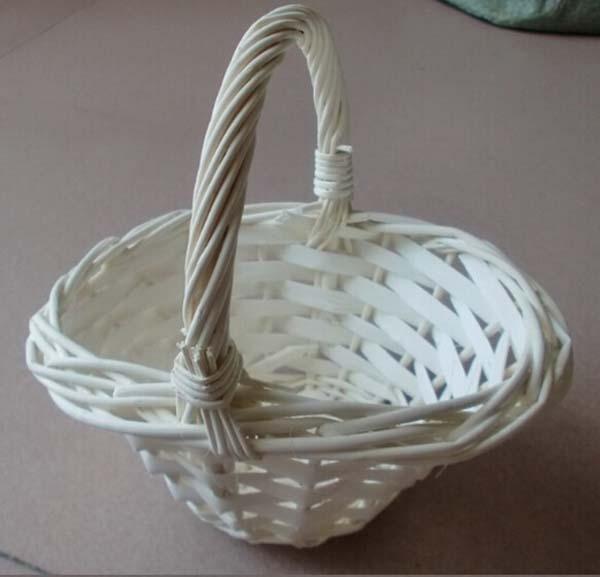 Free Shipping White Willow Baske Wicker Bride Wedding Flower Girl
