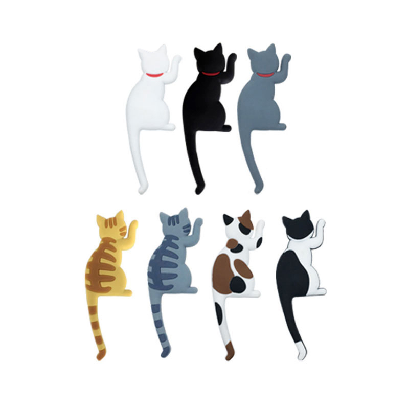 Animal Refrigerator Magnets Storage Hook Strong Cat Tail Key Holders Organizer For Kitchen Office Home Decor 7 Colors