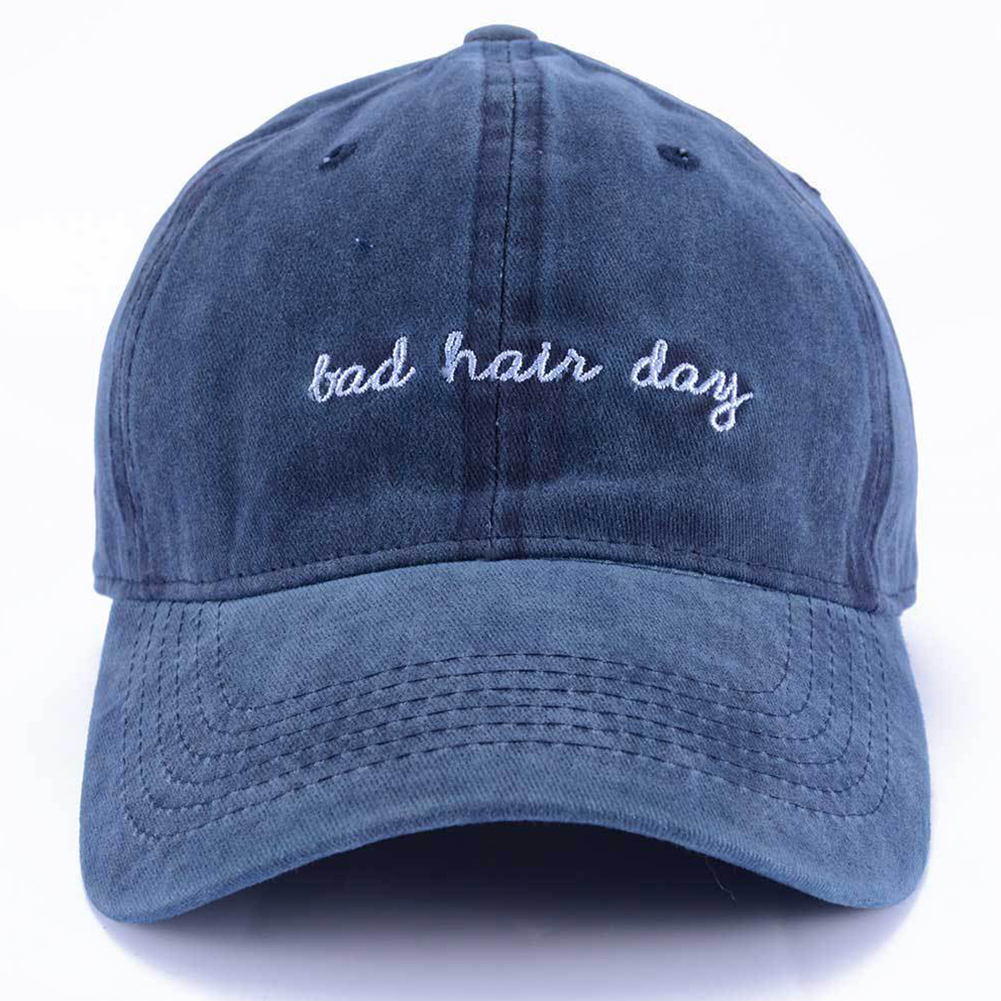 Women Men Lightweight Portable Sunshade Baseball Hat Snapback Summer Wide Brim English Letters Bad Hair Day Fashion Embroidery(China)