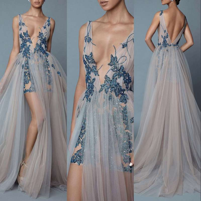 Long   Evening     Dress   Prom   Dresses   Tulle Sequins Women New Women Formal Gown For Prom Wedding Party   Dresses   Robe De Soiree