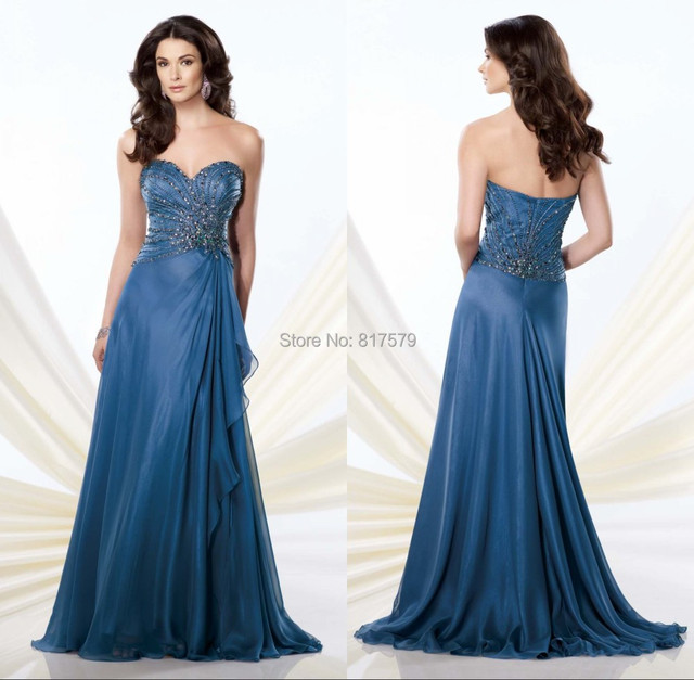 Latest Y Sweetheart Necline Heavy Beading Patterns Evening Gown Light Blue Mother Of The Bride Dresses