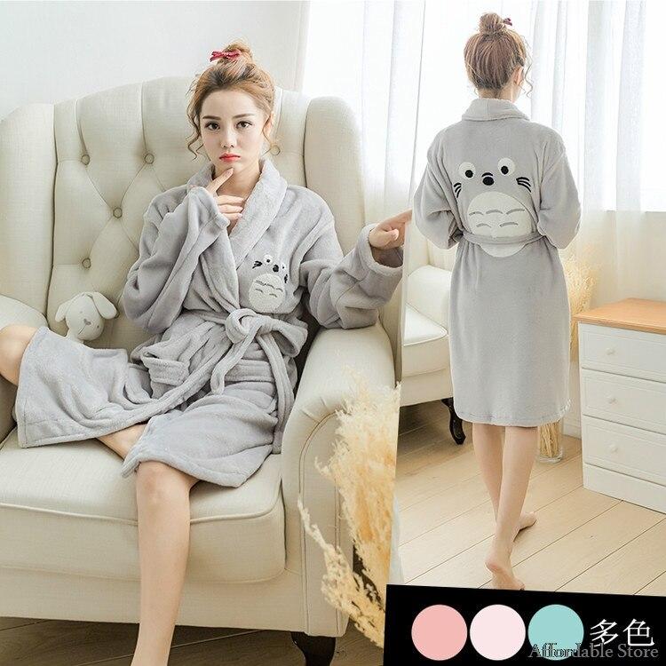 autumn and winter cartoon couples flannel robe men and women thicken home service pajamas bathrobes bathrobe