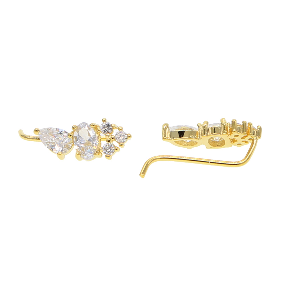 Four Prong Setting Sparking bling CZ Crystal White / Rose Gold Color Dipper Hook climber Stud Earrings Jewelry for Women