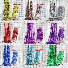 1PCS 1M 2M 3M Metallic Foil Curtains Wedding Birthday Party Backdrop Fringe Tinsel Shiny DIY Decoration