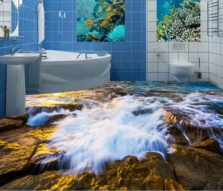 ФОТО custom self adhesive wallpaper 3d floor tiles room stereoscopic 3d waterproof wallpaper Waves stone 3d flooring