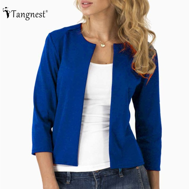 TANGNEST 2017 New Basic Jackets European Casual Brief Solid Color Slim Open Stitch Three Quarter O-Neck Female Jacket WWJ668