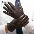 Gours 2016 Winter New Men Genuine Leather Gloves Goatskin Mittens Brown Plus Velvet Warm Fashion Driving Outdoor GSM037