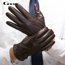 Gours 2017 Winter New Men Genuine Leather Gloves Goatskin Mittens Brown Plus Velvet Warm Fashion Driving GSM037