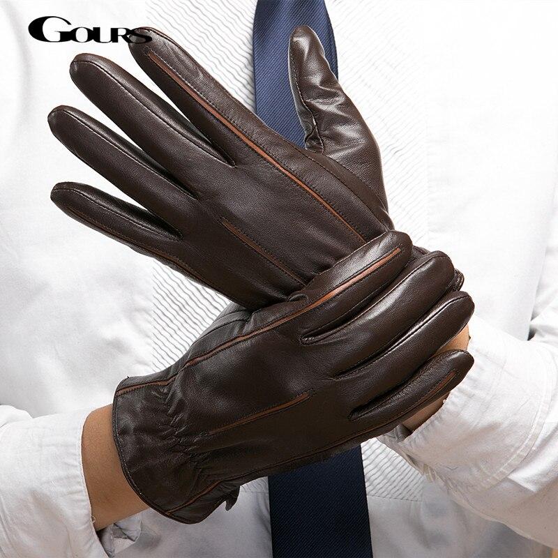 gours 2018 winter new men genuine leather gloves goatskin mittens brown plus velvet warm fashion. Black Bedroom Furniture Sets. Home Design Ideas