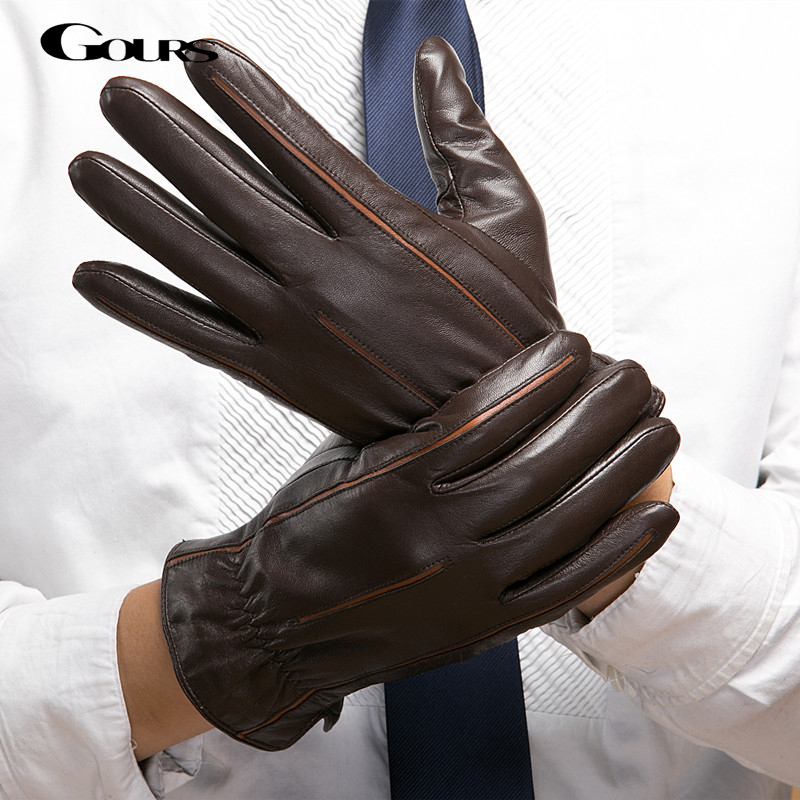 Gours Winter New Men Genuine Leather Gloves Goatskin Mittens Brown Plus Velvet Warm Fashion Driving GSM037