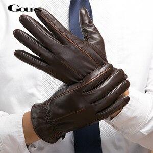 Image 1 - Gours zimowe nowe męskie oryginalne skórzane rękawiczki rękawiczki z koźlej skóry brązowe oraz aksamitne ciepła moda jazdy GSM037
