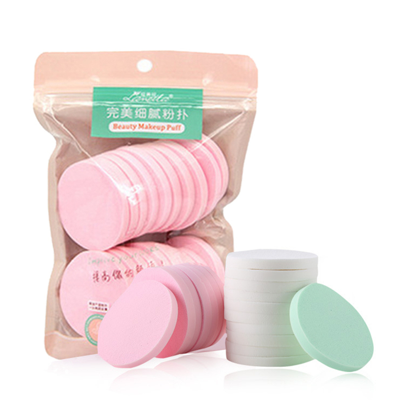 20Pcs/pack Mini Round Make Up Sponge Foundation Makeup Beauty Products Exfoliating Facial Cleanser Face Wash Pad Random