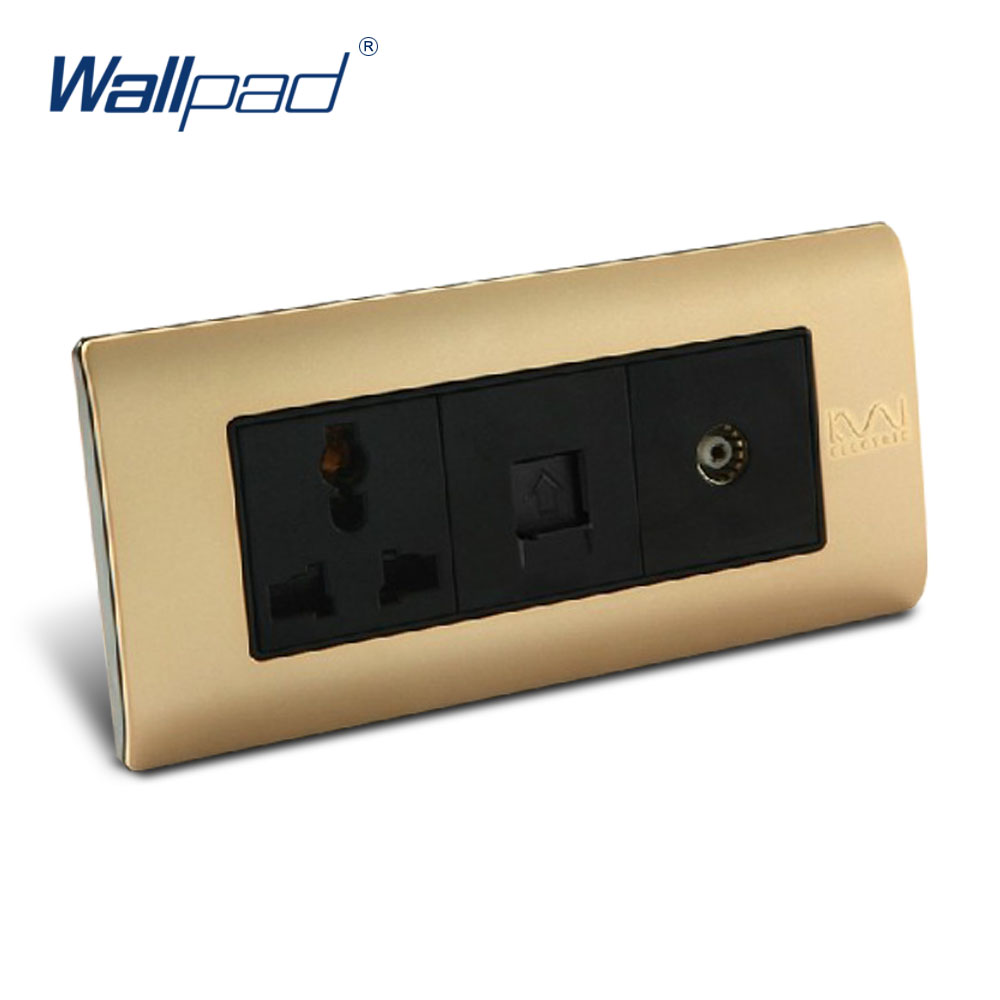 Free Shipping TV And Computer 3 Pin Socket Wallpad Luxury Wall Switch Panel C5-Series 154*72mm 10A 110~250V free shipping wallpad luxury wall switch panel 6 gang 2 way switch plug socket 197 72mm 10a 110 250v