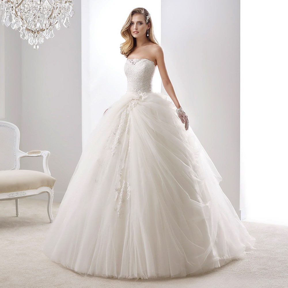 Strapless Vestido De Noiva Princess Ball Gown Sparkly Wedding Dresses 2016 Puffy Bottom Tulle Bridal L10062016 In From Weddings