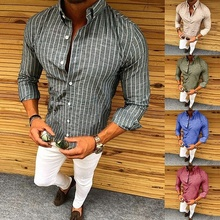 ZOGAA New Long Sleeve Men Shirt 2018 Summer Casual Shirts Dress Fashion Polyester Striped Slim Fit For Size S-2XL