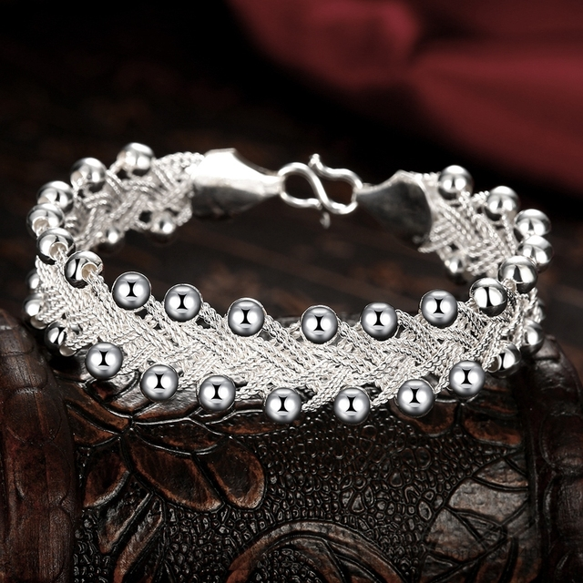 Hot Sales Promotions! Hiphop Punk Style Bangles Bracelets Nice 925 Sterling Silver Rock Design Ball Beads Jewelry Top Quality 4