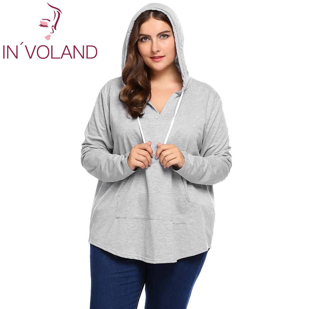 e992aceeee IN VOLAND Women Hoodies Hooded Plus Size 3XL Autumn Loose Lace-up Long  Sleeve Pocket Sweatshirts Pullover Coat Tops Big Size