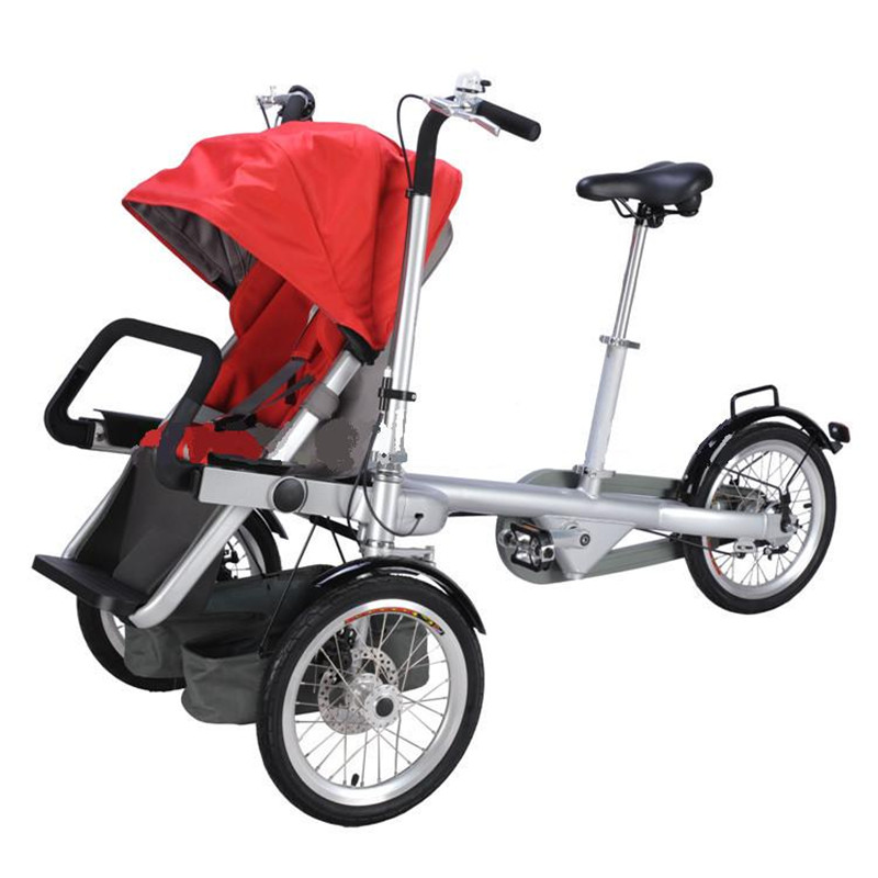 Folding Baby Bike Stroller 3 Wheel One Seat Tricycle Mom Bicycle Carrier Red