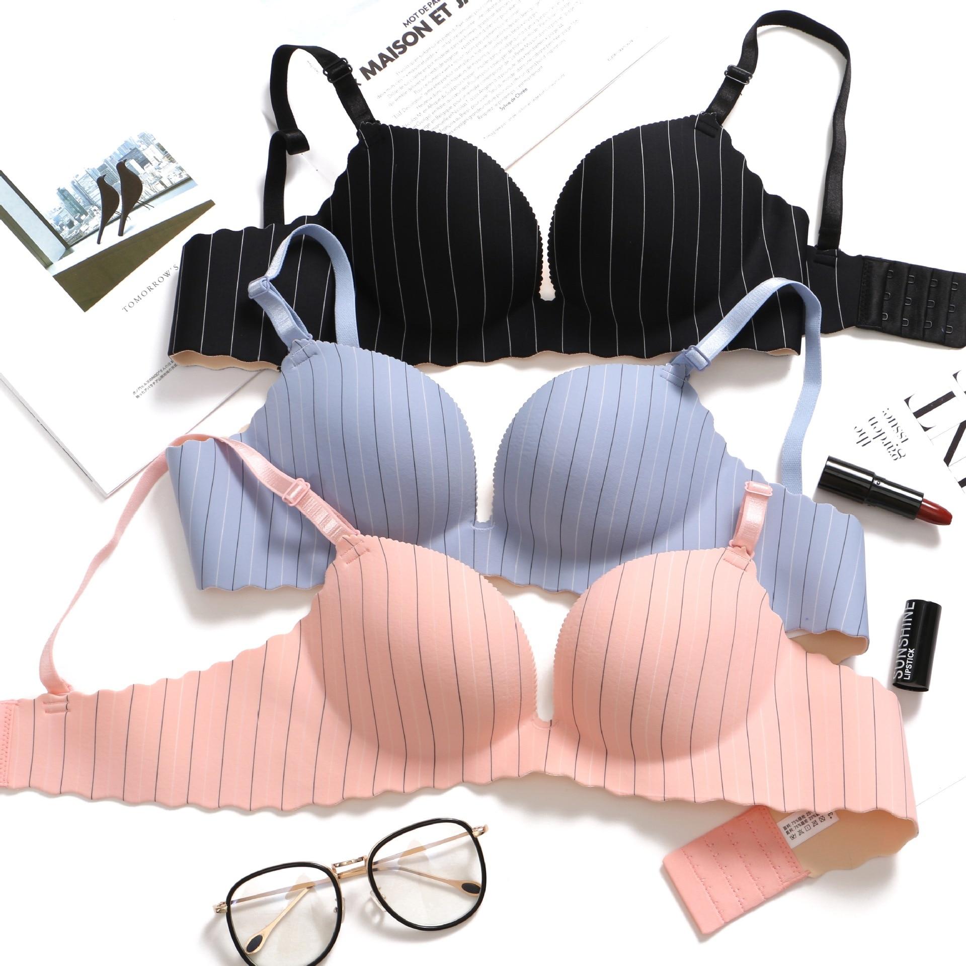 Sexy Gather breast bra Adjustable straps Women Seamless Underwear Push Up Bra Support chest dress wedding party bra