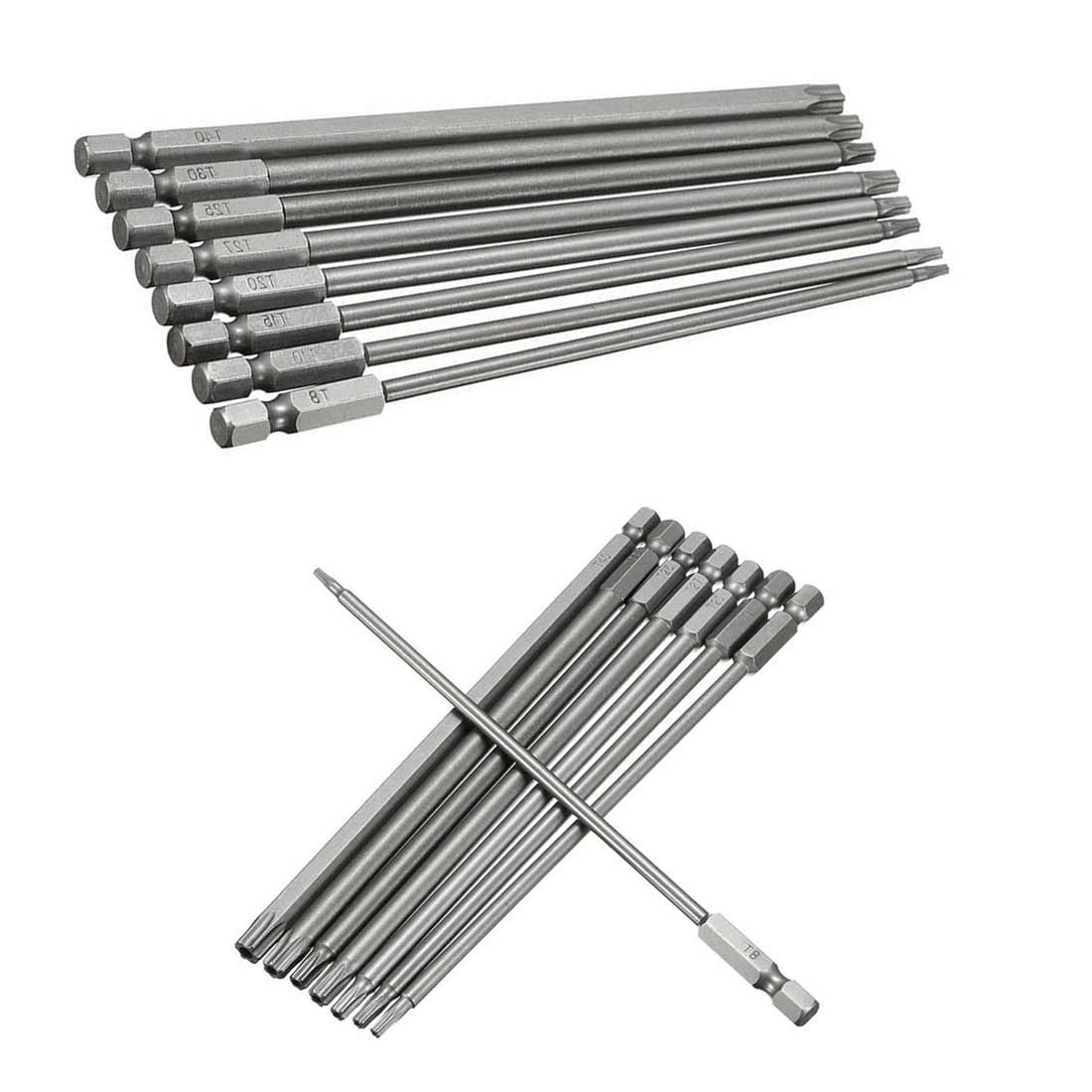 8pcs Magnetic Torx Screwdriver Bit Set 150mm Long Steel Electric Screwdrier Tools T8/T10/T15/T20/T25/T27/T30/T40