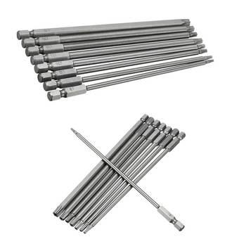 цена на 8pcs Magnetic Torx Screwdriver Bit Set 150mm Long Steel Electric Screwdrier Tools T8/T10/T15/T20/T25/T27/T30/T40