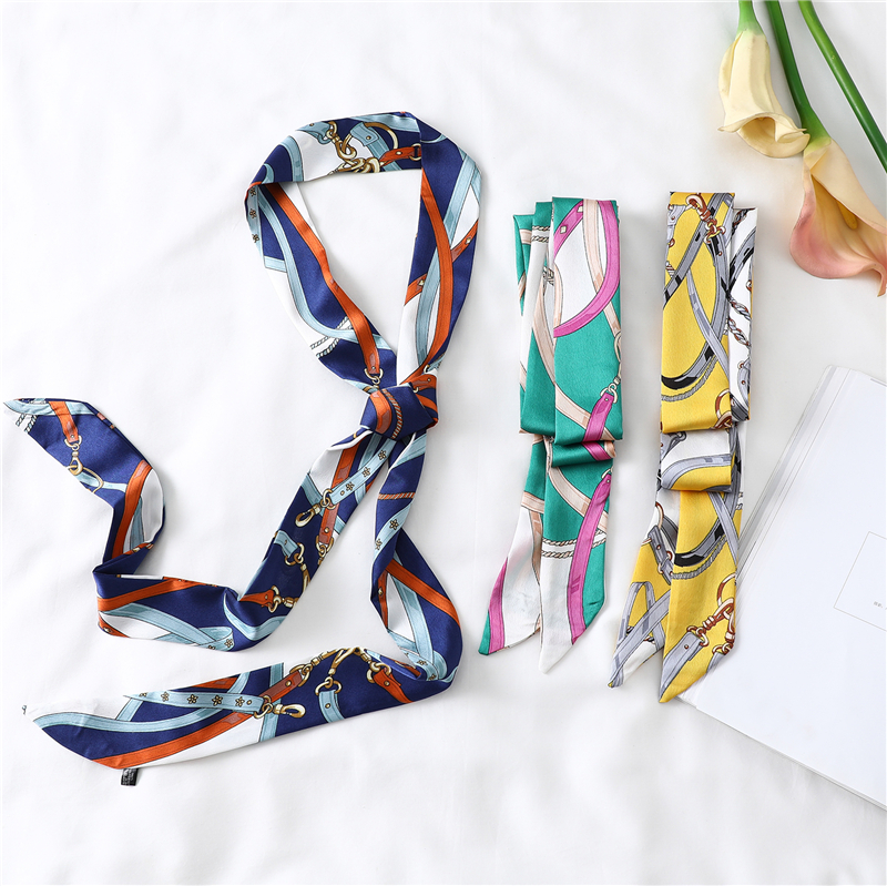 Lengthened Narrow Silk Scarf Women Brand Design Skinny Scarves Decorative Belt Ladies Head Band Wrapped Ribbon Fashion Print New