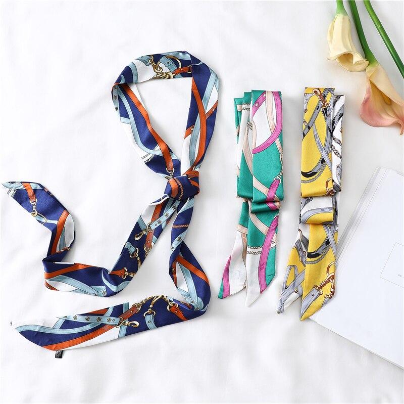 Lengthened Narrow Silk Scarf Women Brand Design Skinny Scarves Decorative Belt Ladies Head Band Wrapped Ribbon Fashion Print New