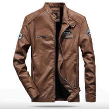 цена на 2019 Spring Autumn PU Leather Jacket Men Slim Fit Military Coat Stand Collar Jackets Solid Color Casual Leather Coat Black WN44